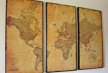 Old World Maps / Inspiration for and finished fabrics for Lisa Chin's theme for The Printed Fabric Bee.