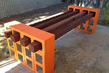 Sillas para jardín de madera y cemento