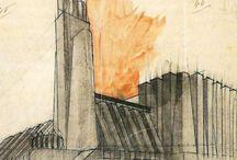Antonio Sant'Elia - Desenho /Drawing / Antonio Sant'Elia 1888-1916