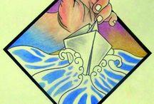 Hand in Hand / Matite colorate ed inchiostro. Il mio viaggio inizia così. Nessun computer o strumento particolare. Ci sono solamente io con la mia vita rivissuta su
