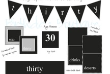 Milestone or Over the Hill Party / I like the word milestone better than over the hill.  30 is still young!  The printable package can be changed to any age you would like. #overthehill #milestone #birthday #decorations #blankandwhite #30 #40 #50 / by Calla Design