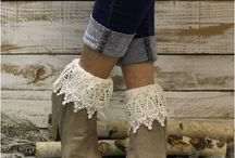 Lace socks for flats.  Ankle boots Made in USA / Lace socks by Catherine Cole