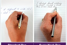 Swanneck Pen Left-Hand Logic Range / A British company has invented the revolutionary Swanneck Pen, which was specifically designed to make writing simple and smooth for all left-handers.  The Swanneck Pen is an extremely simple design, which incorporates a patented and design registered S bend neck and ergonomic grip, which makes it easy for writers to pick up and write comfortably, straight away whatever their language or written text