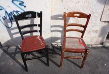 Sedie sgabelli / Sedute stile industrial realizzate con materiale di riciclo e recupero in legno e ferro. Prodotti artigianali artistici made in italy.