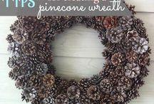 Diy pinecone wreath, käpykranssi