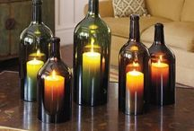 Candle lights wine bottles