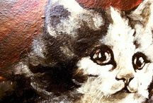 "Sophie Sperlich (1863-1906) ""Kittens"" Oil on Panel"