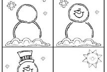Snowman and -flakes