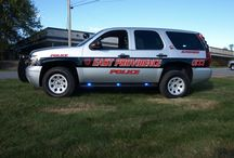 Chevy Tahoe Police Package Vehicle / Featuring Whelen, Havis and Setina Equipment.  Proudly built by the EVT Techs at Adamson Industries Corp.