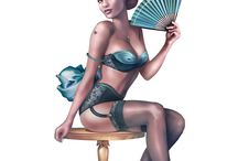 "Burlesque / ""Kinky Karrot"" pinup illustrations with burlesque content"