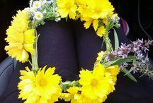 꽃화환 및 생일 꼬깔과 왕관
