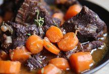 Daube de joues de bœuf aux carottes et vin rouge