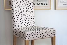INTERIOR CHAIRS / A collection of chairs for the office, kitchen or lounge. DIY prints and refurbished upholstery