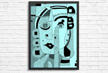 Abstract faces prints