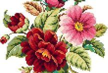 Krížikové vyšívanie-kvety / kvety