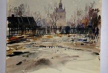 "Yuri Khimich-Watercolours (UA, 1928-2003) / Famous Ukrainian artist and architect, a master of watercolor, Honored Artist of Ukraine, Yuriy Khimich had exhibitions in Ukraine, Russia, Hungary and the US. He left behind an invaluable artistic heritage and many of students so-called ""school Khimich Yuri."""