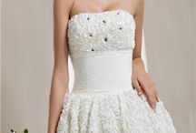 Weddings - Short Style Dresses / A one-piece garment for a woman or girl that covers the body and extends down over the legs. / by Jacquie Roberts