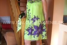 Evening dresses handpainted / Evening dresses handpainted by Juliana Hamajdak . Slovakia - Prešov . Made in Europe .