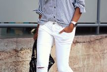 Stripes white pants