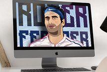Roger Federer Art Illustration .