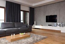 Ściana na tv w salonie