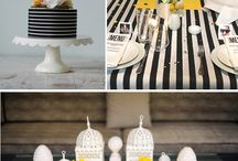 Black white yellow table decor