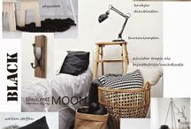 Moodboard koloru: wood, white, black, kolor