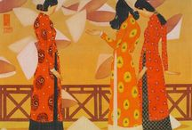 VU DINH TUAN / Vietnamese artist - painting on silk canvases, the artist's main subject are VIETNAMESE and ORIENTAL women wearing traditional clothes, almost always portraied turned, showing their back and inserted in traditional contexts; at the same time the naif painting style is really modern