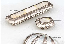 Precious Inlays Cabinet Hardware / Mother of Pearl and Tiger Penshell detailing on cabinet hardware from Schaub and Company's Symphony Collection