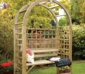 Wooden Garden Arbour Seating Ideas / Create a beautiful secluded seating area in your garden with wooden arbour. Here are some ideas for wooden garden arbours in simple, ornate and corner styles. #WoodenGardenArbours #CornerArbours
