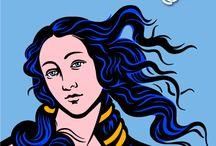 Nacimiento de Venus / El Nacimiento de Venus, arte vectorial realizada a partir de la obra pintada por Sandro Botticelli, pintor florentino, cuyo nombre real era Alessandro di Mariano di Vanni Filipepi.