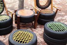 mesa e cadeiras pneus