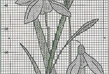 SNOWDROP FLOWERS *CROSS STITCH-EMBROIDERY