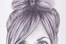Dibujos en blanco y negro. / dibujos