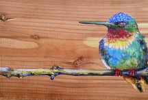 colored pencils on wood