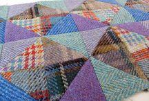 Patchwork felted blanket
