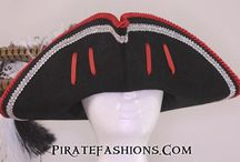 Pirate Hats / Pirate hats come in two major styles: Tricorn for the classic gold age era and the Cavalier hat for the earlier Buccaneer era.  Mostly made of wool felt, but can be made of Beaver felt, leather or palm.