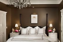 Master bedroom / Ben Moore Plymouth brown walls White linens Eclectic furniture  / by Laura Wasinger
