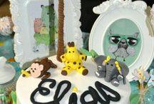 gâteau anniversaire safari / premier gâteau en pâte à sucre  réalisé pour un anniversaire :)