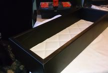 Caja de piel negra e interior papel polipiel cosido beige / Caja de piel negra e interior papel polipiel cosido beige