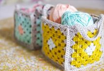 Crochet block baskets