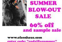 "Godzilla Summer Sale / Sale; www.olsenhaus.com 60% off, enter code: ""godzillasummer""  sample sale. $30-50 ebay seller: nteo"