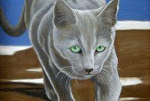 gatti / ritratti ad olio di gatti