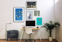 Private Office Collection / Dreamlike places, soft colors, evocative landscapes, wide spaces: surround yourself with inspiring artworks to open your mind and better focus on your job.  The collection includes 5 black frames and 1 print mounted on board with artworks by Skip Hunt, Ron Gessell, Jennifer Orhélys, Patrick Butler, Ninhol, ready to hang.  Our suggestion: this is a perfect set for your home office. Arrange the artworks as you like to best fit your space.