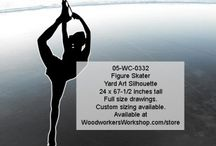 Figure Skating Silhouettes / A nice collection of figure skating silhouettes in singles and pairs skatings. Skaters of different sizes.  Custom sizing is available. Ideal to display in the yard during championships, or to decorate the walls on your local arena or backyard rink.