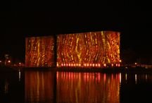 The KALEIDOSCOPE / Our latest public art lighting installation in Buffalo, NY, on grain silos.