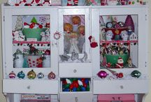 Christmas Hutch 2014 / My white antique hutch full of vintage Christmas fun!