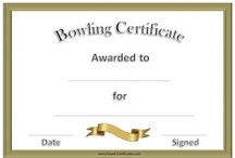 bowling certificate