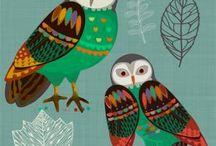 My Folk Bird Prints / Folk Style New Zealand birds by Jane Galloway