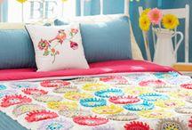 crochet blanket, pillow